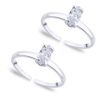 Sterling Silver  CZ Toe Ring By Taraash