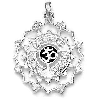 Sterling Silver  CZ OM Pendant By Taraash
