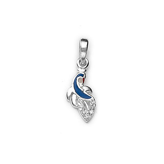 Sterling Silver  CZ Peacock Pendant By Taraash