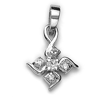 Sterling Silver  CZ Floral Pendant By Taraash