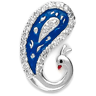 Sterling Silver  CZ Peacock Pendant with Enamel By Taraash