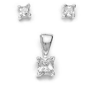 Sterling Silver  CZ Princess Cut Pendant Set By Taraash
