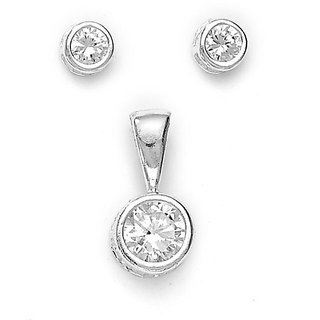 Sterling Silver  CZ Round Pendant Set By Taraash