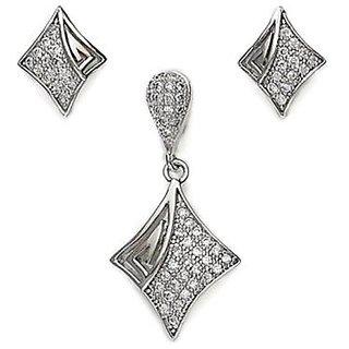 Sterling Silver  CZ Princess Cut Pendant Set By Taraash