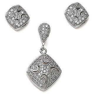 Sterling Silver  CZ Square Pendant Set By Taraash