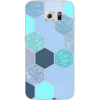 Absinthe Llight Blue Hexagons Pattern Back Cover Case For Samsung S6