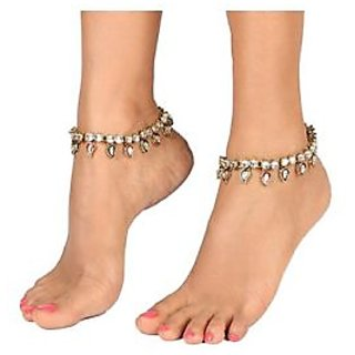 Traditional Ethnic Red Green Kundan Anklet Payal Pair