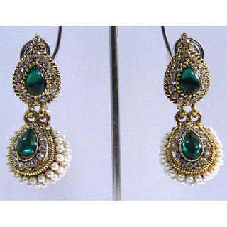 Green pearl stone jhumka earring