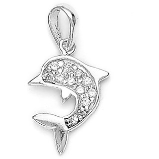 Sterling Silver  CZ Dolphin Pendant By Taraash
