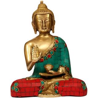 Craftartz Buddha Brass Idol Dhyan Mudra (Turquoise and Green Stone, 7.5 inch)