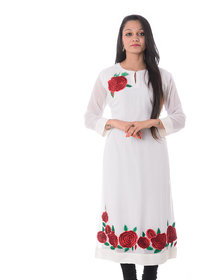 Adakari White Embroidered Georgette Stitched Kurti