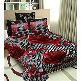 Cotton Printed Double Bedsheet(1 Bedsheet, 2 Pillow cover, Multicolor)
