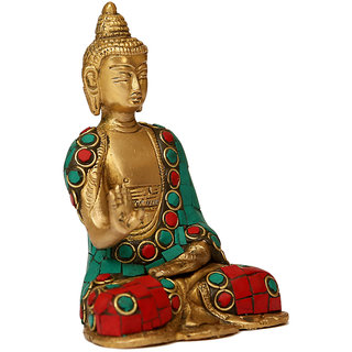 Craftartz Buddha Brass Idol Dhyan Mudra (Turquoise and Green Stone, 4.6 inch)