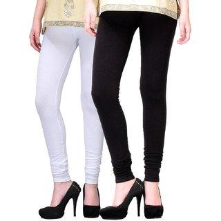Women  Cotton Churidaar Legging Black/White (Pack Of 2)