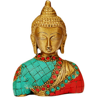 Craft artz  Buddha Bust(Turquoise and Green Coloured Stone,5 inch)