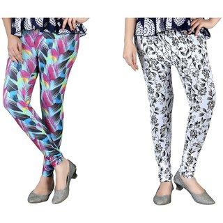 Designer Colorful Floral Printed Stretchy Leggings Combo Set of 2