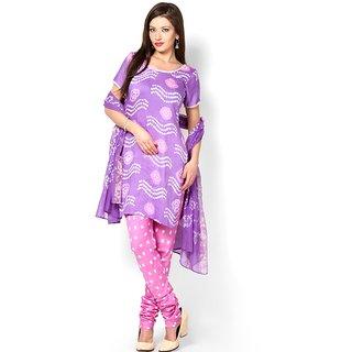 Jaipuri Bandhani Cotton Purple Dress Material