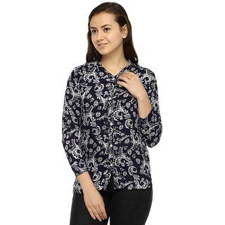 Wajbee Multicolor Printed Shirt Collar Basic Top For Women