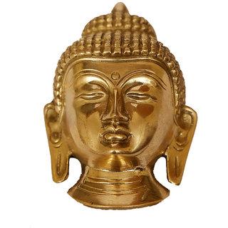 Craftartz Buddha Brass Mask (Golden color, 5.3 inch