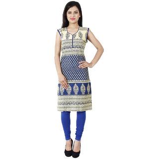 Kiosha Blue Sleeveless Cotton Kurti for women