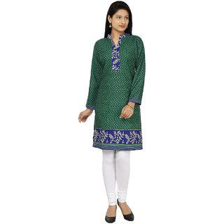 Kiosha Green 3/4 Sleeve Pure Crepe Kurti for women