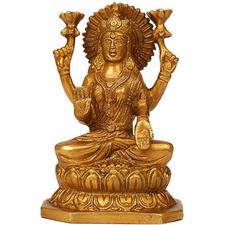 Craftartz Lakashmi Idol sitting on lotus (Golden color, 6 inch)