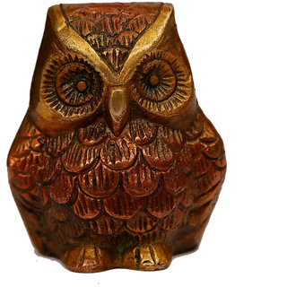 Craftartz Lakashmi jis vahan Ullu (Antique brownish  color, 2.8 inch)