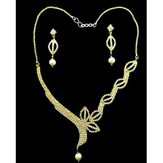 Necklace set in Crystal Diamonds with Gold Two Tone Plated by for Women