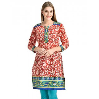 Kiosha Red 3/4 Sleeve Pure Crepe Kurti for women