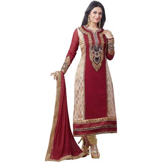 Ecoco Fashion Red And Cream Embroiderers Dress Material