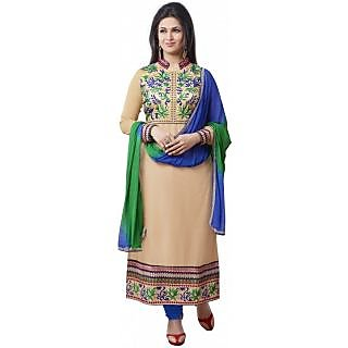 Ecoco Fashion Cream And Blue Embroidered Salwar Suit