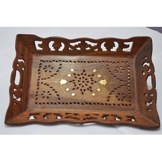 Wooden Serving Tray Decorative Handcarved Rosewood Snack or Coffee Tray (13X 9)