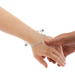 Sterling Silver  Floral Charms Bracelet By Taraash