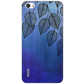 Absinthe Blue Leaves Pattern Back Cover Case For Huawei Honor 6