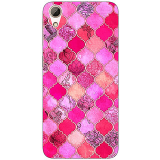 Absinthe Pink Moroccan Tiles Pattern Back Cover Case For HTC Desire 626G
