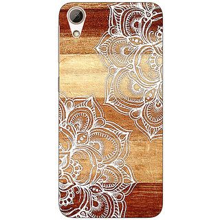 Absinthe White Brown Doodle Pattern Back Cover Case For HTC Desire 728G Dual Sim