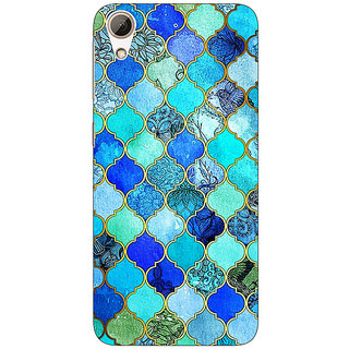 Absinthe Dark Blue Moroccan Tiles Pattern Back Cover Case For HTC Desire 728 Dual Sim