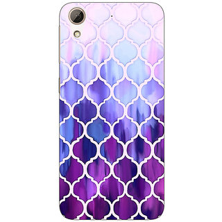 Absinthe White Purple Moroccan Tiles Pattern Back Cover Case For HTC Desire 728 Dual Sim
