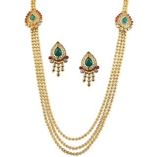 Utkrishtt Gold Finish Green 3 Layers Long  Necklace Set -1104519