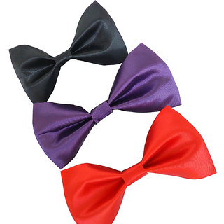 Wholesome deal Mens multi colored neck bow tie (pack of three)