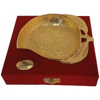 Gold Plated Mango Shaped Brass Bowl With 24 Carat Gold Plated