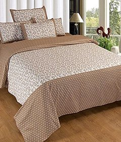Geonature cotton Brown double badsheet with 2 pillow cover (G1BED-206)
