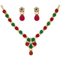 14Fashions Austrian Stone Red  Green Necklace Set - 1104533