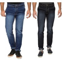 Wajbee Mens Blue and Black Colored Jeans Pack of 2