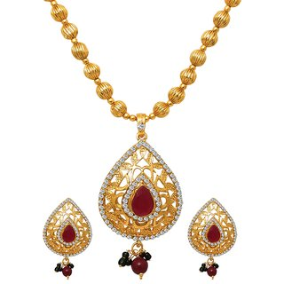 14Fashions Gold Plated Austrian Stone Drop Maroon Necklace Set - 1104535