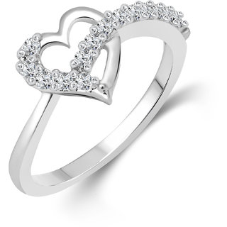 Vighnaharta Valentines (CZ) Silver and Rhodium Plated  Ring - VFJ1076FRR
