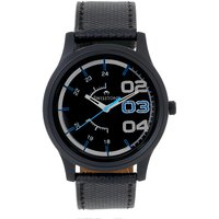 Swisstone Black Dial Black Leather Strap Analog Watch For Men/Boys- ST-GR012-BLK-BLK
