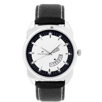 Swisstone White Dial Black Leather Strap Analog Watch For Men/Boys- ST-GR011-WHT-BLK