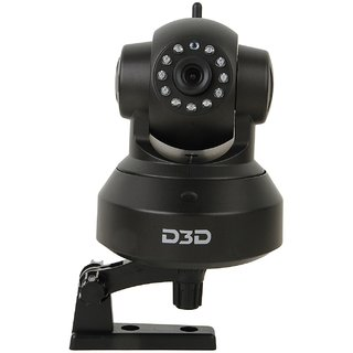 D3D Wireless HD IP Wifi CCTV Watch ONLINE DEMO Right Now Indoor Security Camera (Support Upto 128 GB Micro SD Card) (Black Color)