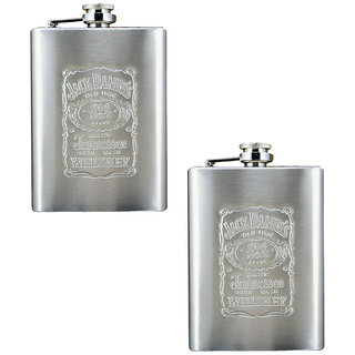 Buy 1 Get 1 Free Jack Daniels Embossed Stainless Steel Wine Hip Flask 8 OZ